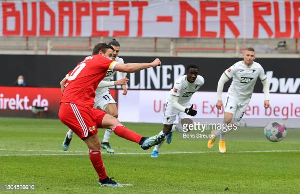 Max Kruse of 1.FC Union Berlin scores their team's first goal from the penalty spot during the Bundesliga match between 1. FC Union Berlin and TSG...