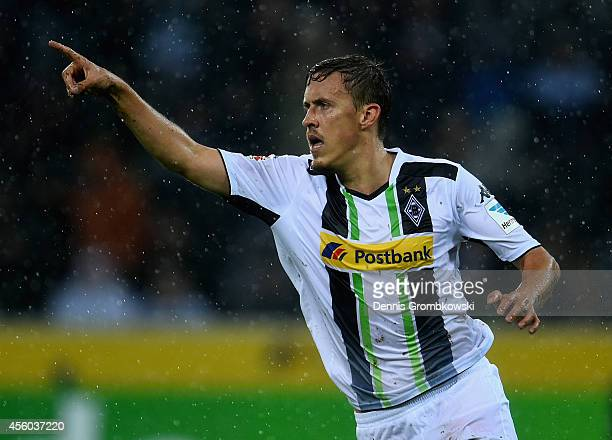 Max Kruse of Borussia Moenchengladbach celebrates the first goal during the Bundesliga match between Borussia Moenchengladbach and Hamburger SV at...