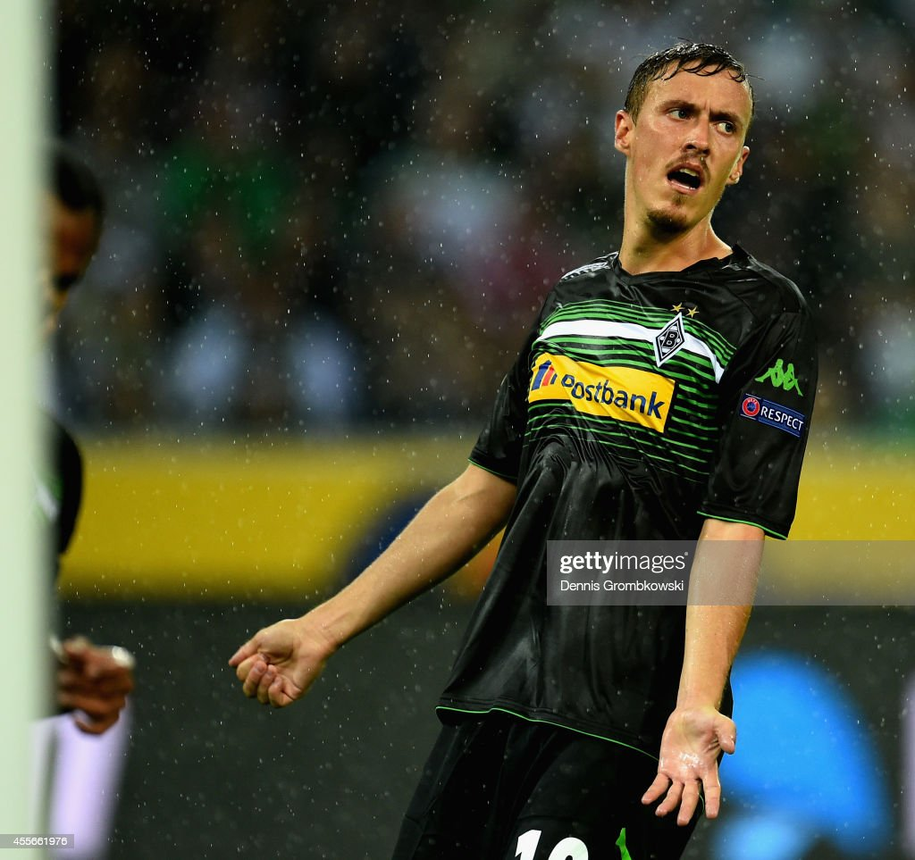 Max Kruse of Borussia Moenchengladbach looks dejected during the UEFA Europa League Group A match between Borussia Moenchengladbach and Villareal CF at Borussia-Park Stadium on September 18, 2014 in Moenchengladbach, Germany.