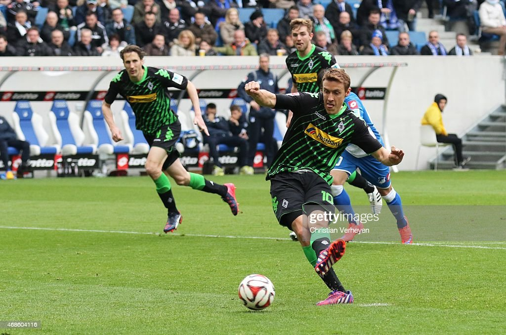 Max Kruse of Borussia Moenchengladbach scores by penalty during the Bundesliga match between 1899 Hoffenheim and Borussia Moenchengladbach at Wirsol Rhein-Neckar-Arena on April 4, 2015 in Sinsheim, Germany.