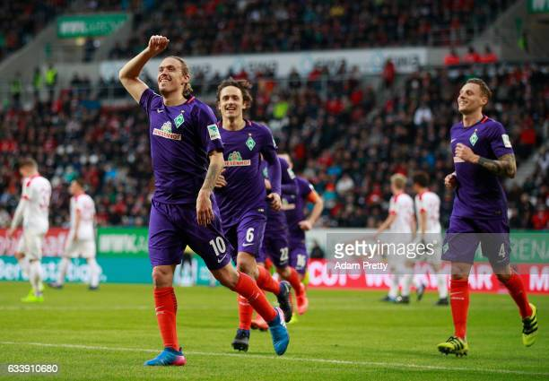 Max Kruse of Bremen celebrates scoring the penalty during the Bundesliga match between FC Augsburg and Werder Bremen at WWK Arena on February 5 2017...