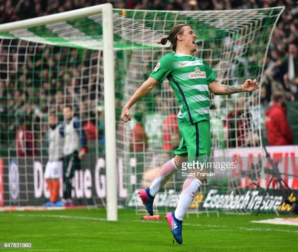 Max Kruse of Bremen celebrates scoring the penalty during the Bundesliga match between Werder Bremen and SV Darmstadt 98 at Weserstadion on March 4,...
