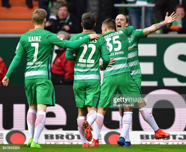 Max Kruse of Bremen celebrates scoring the second goal with teamates during the Bundesliga match between Werder Bremen and SV Darmstadt 98 at...
