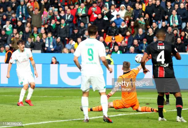 Max Kruse of Bremen scores his teams third goal during the Bundesliga match between Bayer 04 Leverkusen and SV Werder Bremen at BayArena on March 17...