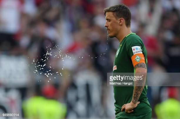 Max Kruse of Bremen shows his disappointment after the Bundesliga match between VfB Stuttgart and SV Werder Bremen at MercedesBenz Arena on April 21...