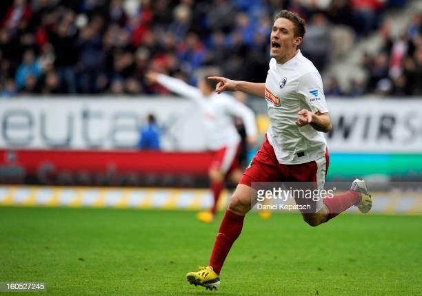 Max Kruse of Freiburg celebrates his team's first goal during the Bundesliga match between TSG 1899 Hoffenheim and Sc Freiburg at Rhein-Neckar-Arena...
