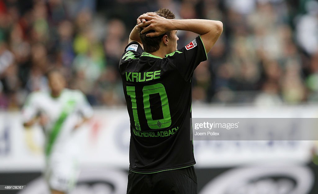 Max Kruse of Moenchengladbach gestures during the Bundesliga match between at Volkswagen Arena on May 10, 2014 in Wolfsburg, Germany.