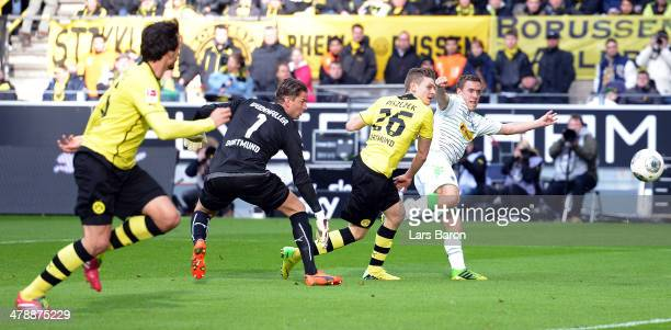 Max Kruse of Moenchengladbach scores his teams second goal during the Bundesliga match between Borussia Dortmund and Borussia Moenchengladbach at...