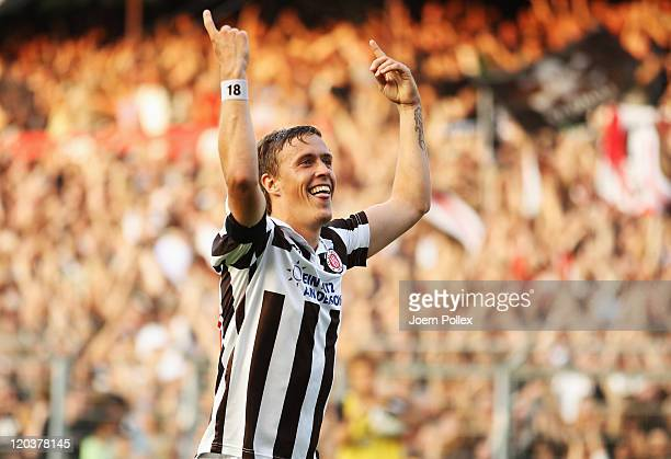 Max Kruse of St Pauli celebrates after scoring his team's third goal during the Second Bundesliga match between FC St Pauli and Alemannia Aachen at...