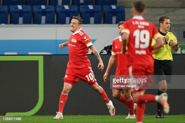 Max Kruse of Union Berlin celebrates scoring the opening goal during the Bundesliga match between TSG Hoffenheim and 1 FC Union Berlin at...