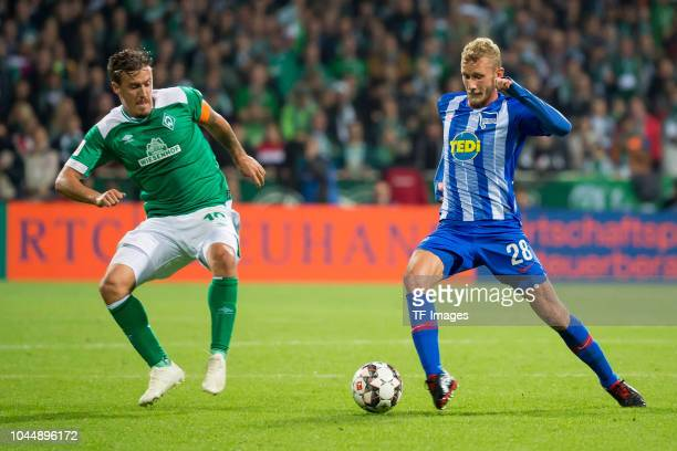 Max Kruse of Werder Bremen and Fabian Lustenberger of Hertha BSC battle for the ball during the Bundesliga match between SV Werder Bremen and Hertha...