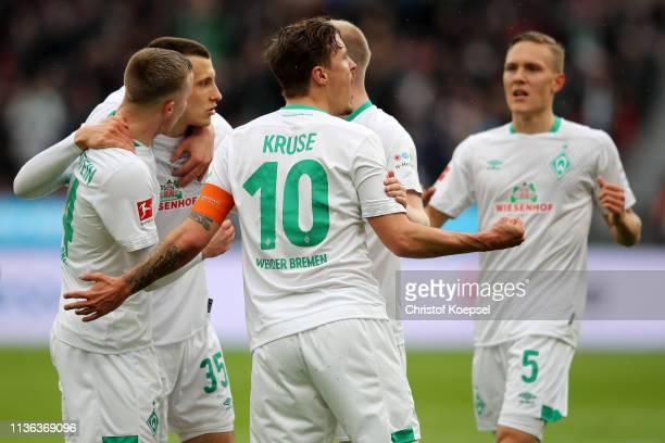 Max Kruse of Werder Bremen celebrates after he scores his teams first goal during the Bundesliga match between Bayer 04 Leverkusen and SV Werder...