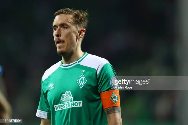 Max Kruse of Werder Bremen reacts after the DFB Cup semi final match between Werder Bremen and FC Bayern Muenchen at Weserstadion on April 24 2019 in...