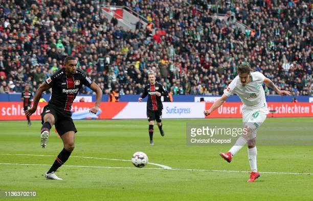 Max Kruse of Werder Bremen scores his sides first goal during the Bundesliga match between Bayer 04 Leverkusen and SV Werder Bremen at BayArena on...