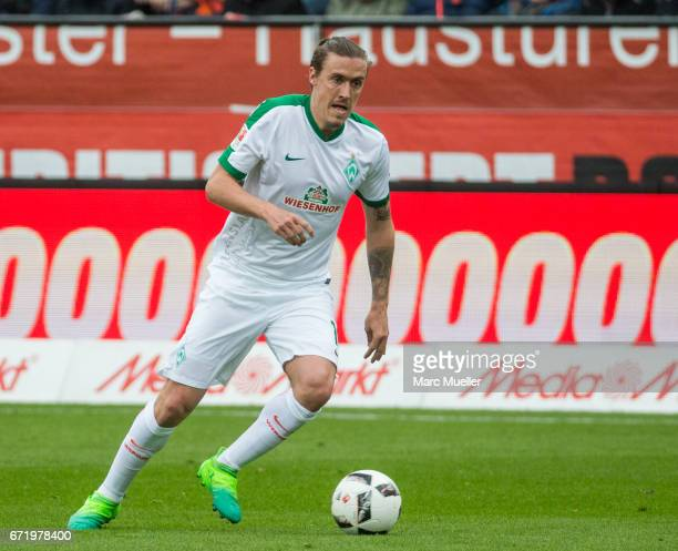 Max Kruse of Werder Bremen with ball during the Bundesliga match between FC Ingolstadt 04 and Werder Bremen at Audi Sportpark on April 22 2017 in...