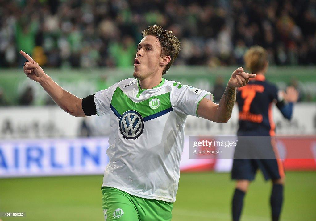 Max Kruse of Wolfsburg celebrates scoring his goal during the Bundesliga match between VfL Wolfsburg and Werder Bremen at Volkswagen Arena on November 21, 2015 in Wolfsburg, Germany.