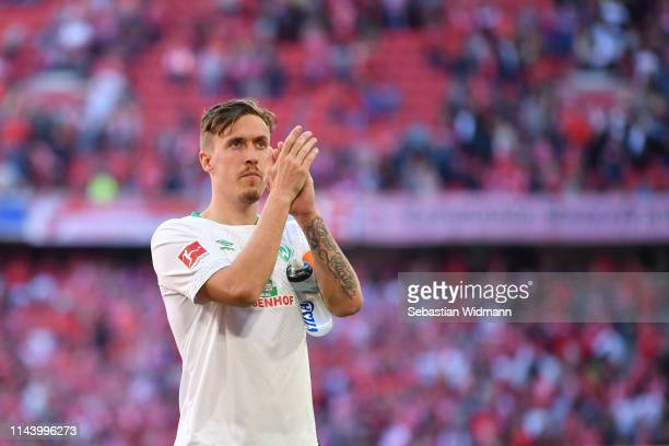 Max Kruse of Bremen applauds the fans after the Bundesliga match between FC Bayern Muenchen and SV Werder Bremen at Allianz Arena on April 20 2019 in...