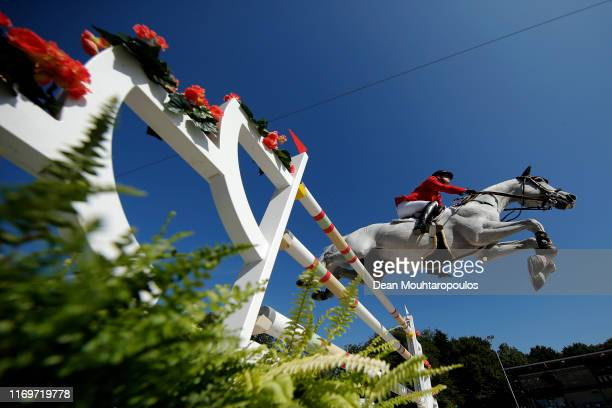 Max Kuhner of Austria riding Chardonnay 79 competes during Day 4 of the Longines FEI Jumping European Championship 2nd part, team Jumping 1st round...