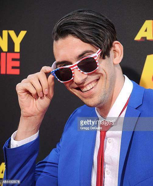 "Max Landis arrives at the premiere of Lionsgate's ""American Ultra"" at Ace Theater Downtown LA on August 18, 2015 in Los Angeles, California."