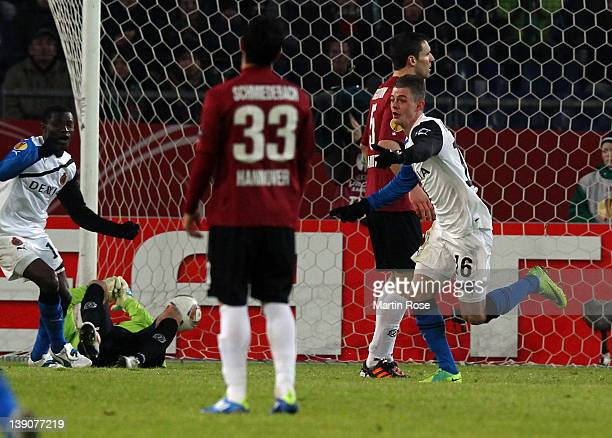 Max Lestienne of Brugge celebrates after he scores his team's opening goal during the UEFA Europa League first leg round of 32 match between Hannover...