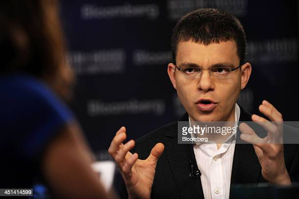 Max Levchin cofounder and former chief technology officer of Paypal Inc speaks during television interview at the Robin Hood Investors Conference in...