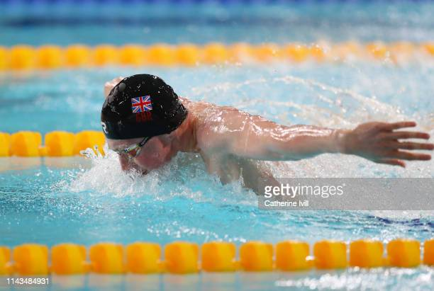 Max Lichfield competes in the Men's 400m IM heats during Day Three of the British Swimming Championships 2019 at Tollcross International Swimming...
