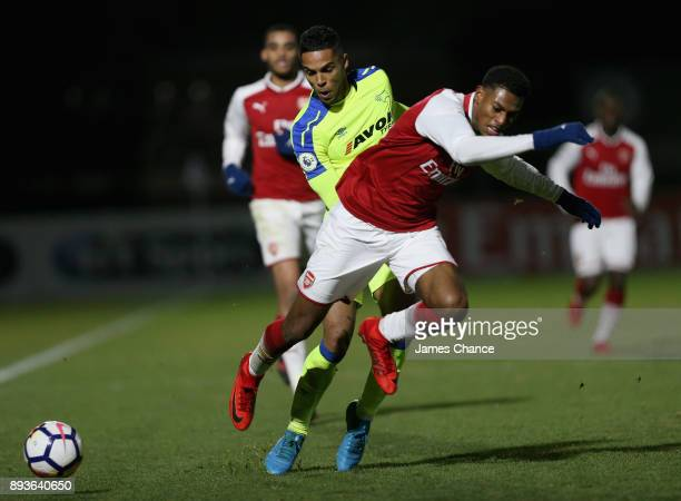 Max Lowe od Derby tackles Charles Vernam of Arsenal during the Premier League 2 match between Arsenal and Derby County at Meadow Park on December 15...