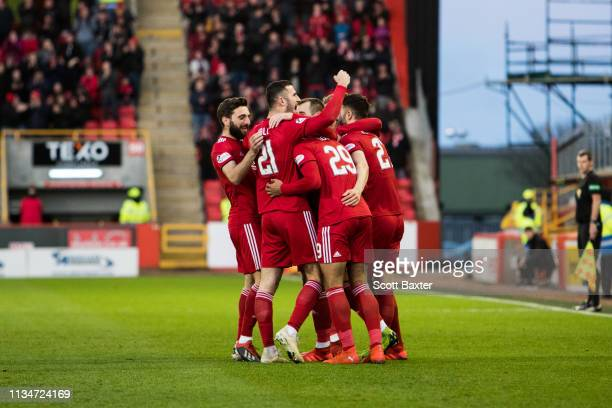 Max Lowe of Aberdeen celebrates his opening goal during the Ladbrokes Scottish Premiership match between Aberdeen and Motherwell at Pittodrie Stadium...