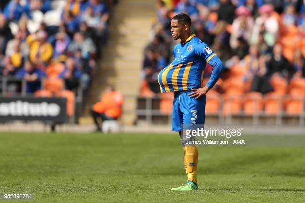 Max Lowe of Shrewbury Town during the Sky Bet League One match between Blackpool and Shrewsbury Town at Bloomfield Road on April 28 2018 in Blackpool...