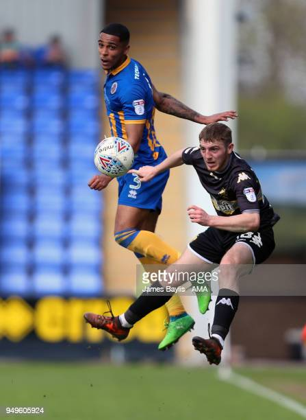 Max Lowe of Shrewsbury Town and Ryan Cooney of Bury during the Sky Bet League One match between Shrewsbury Town and Bury at New Meadow on April 21...