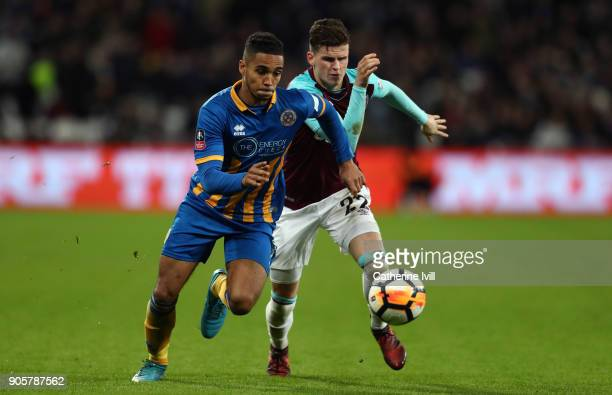 Max Lowe of Shrewsbury Town and Sam Byram of West Ham United during the Emirates FA Cup Third Round Replay match between West Ham United and...