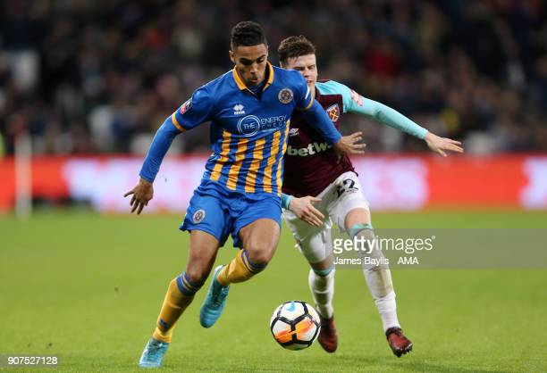Max Lowe of Shrewsbury Town and Sam Byram of West Ham United during the Emirates FA Cup Third Round Repaly match between West Ham United and...