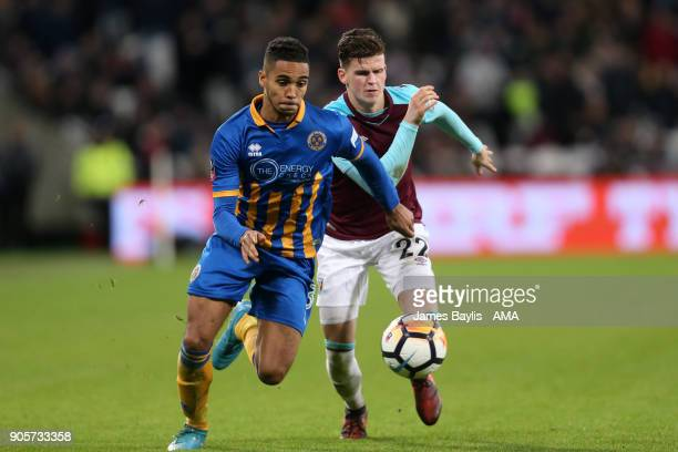 Max Lowe of Shrewsbury Town competes with Sam Byram of West Ham United during the Emirates FA Cup Third Round Repaly match between West Ham United...