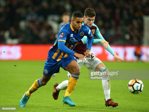 Max Lowe of Shrewsbury Town during FA Cup 3rd Round reply match between West Ham United against Shrewsbury Town at The London Stadium Queen Elizabeth...