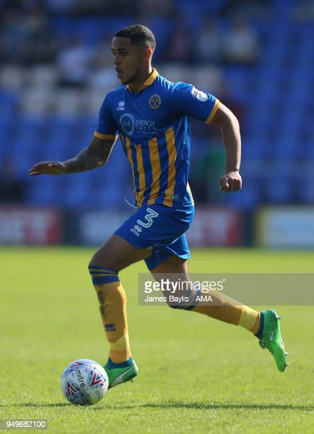Max Lowe of Shrewsbury Town during the Sky Bet League One match between Shrewsbury Town and Bury at New Meadow on April 21 2018 in Shrewsbury England