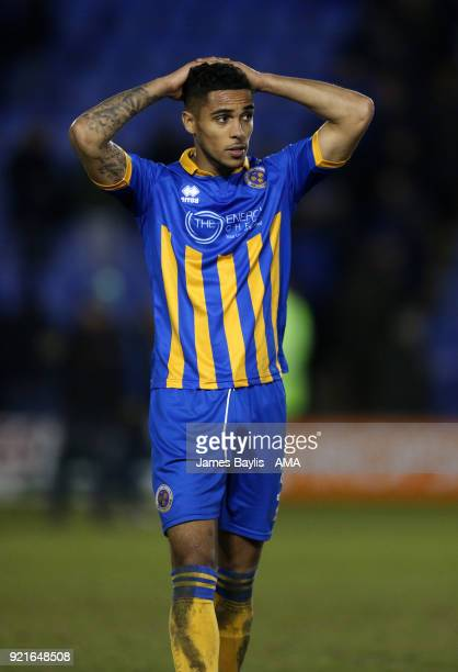 Max Lowe of Shrewsbury Town reacts at full time during the Sky Bet League One match between Shrewsbury Town and Gillingham at New Meadow on February...