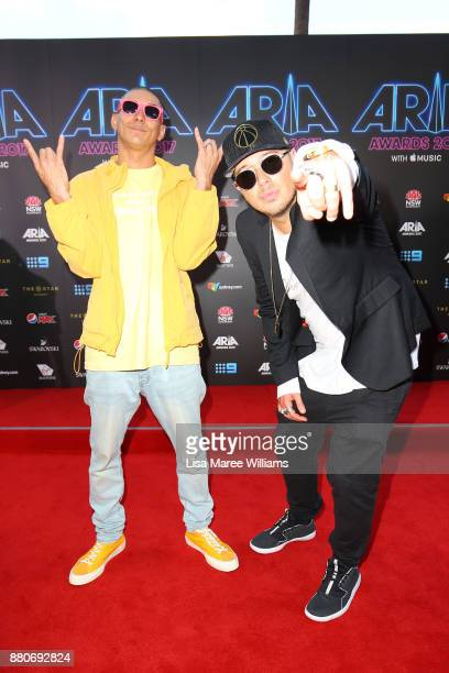Max MacKinnon and Jonathan Notley of Bliss N Eso arrive for the 31st Annual ARIA Awards 2017 at The Star on November 28 2017 in Sydney Australia
