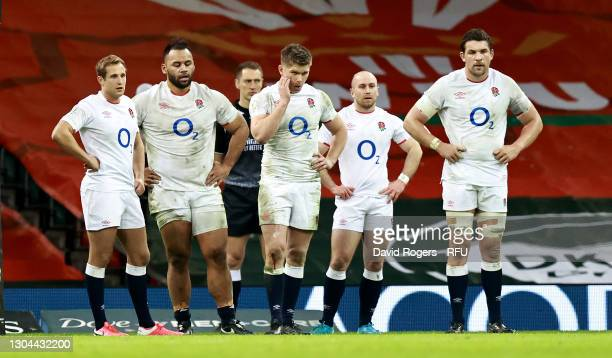 Max Malins, Billy Vunipola, Owen Farrell, Dan Robson and Charlie Ewels of England look dejected during their defeat in the Guinness Six Nations match...