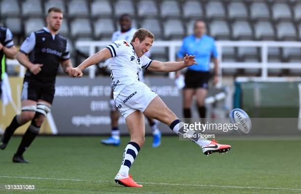 Max Malins of Bristol Bears kicks the ball upfield during the Gallagher Premiership Rugby match between Newcastle Falcons and Bristol Bears at...