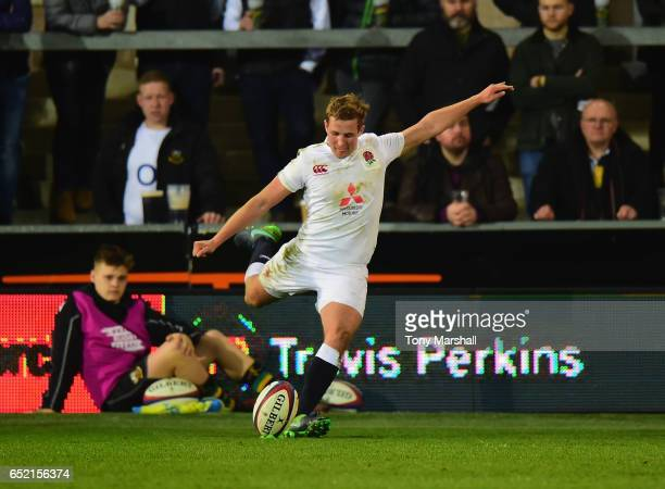Max Malins of England U20 takes a conversion kick during the Under 20s Six Nations Rugby match between England U20 and Scotland U20 at Franklin's...