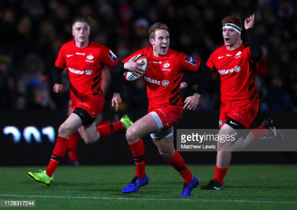 Max Malins of Saracens breaks clear to score their the third try during the Premiership Rugby Cup semi-final match between Worcester Warriors and...