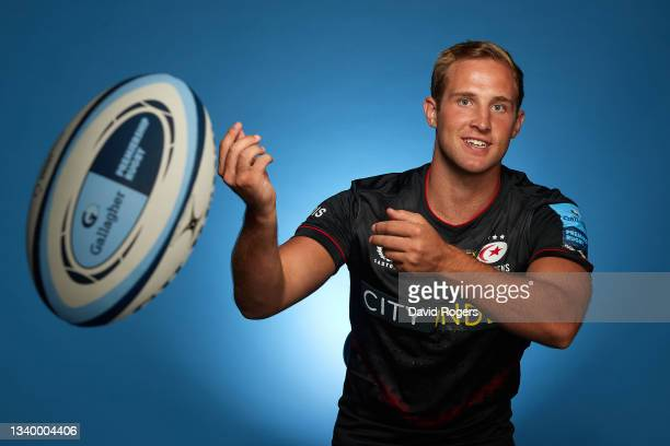 Max Malins of Saracens poses for a photo during the Gallagher Premiership Rugby Season Launch at Twickenham Stadium on September 09, 2021 in London,...