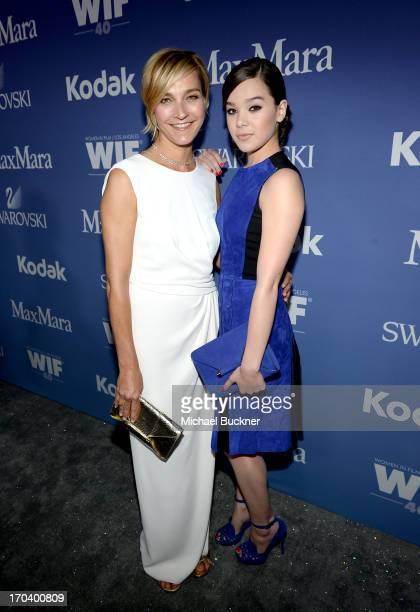Max Mara executive Nicola Maramotti and actress Hailee Steinfeld recipient of The 2013 Women In Film Max Mara Face of the Future Award attend Women...