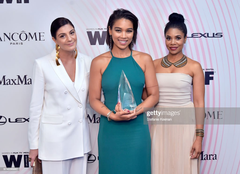 Max Mara Vice President US Retail and Global Brand Ambassador Maria Giulia Maramotti, honoree Alexandra Shipp and Regina Hall pose with The Women In Film Max Mara Face of the Future Award during the Women In Film 2018 Crystal + Lucy Awards presented by Max Mara, Lancôme and Lexus at The Beverly Hilton Hotel on June 13, 2018 in Beverly Hills, California.