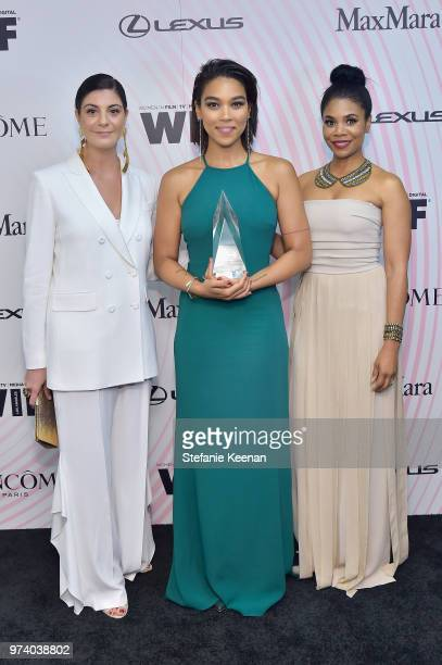 Max Mara Vice President US Retail and Global Brand Ambassador Maria Giulia Maramotti honoree Alexandra Shipp and Regina Hall pose with The Women In...