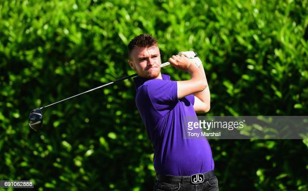 Max Marshall of Brailsford Golf Course Driving Range plays his first shot on the 1st tee during the PGA Assistants Championship Midland Qualifier at...