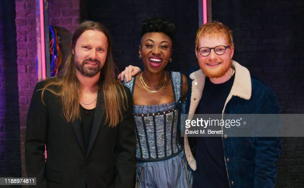 Max Martin MiriamTeak Lee and Ed Sheeran attend the press night performance of Juliet at Shaftesbury Theatre on November 20 2019 in London England
