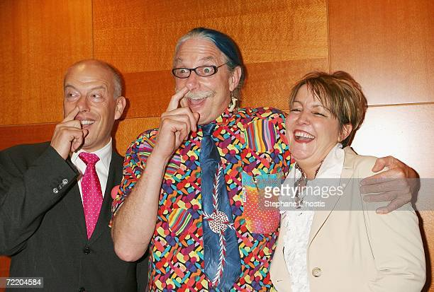 Max Martin, Patch Adams and Susan Welch pose at the An Evening With Patch Adams Fundraiser at the Sofitel Wentworth on October 18, 2006 in Sydney,...