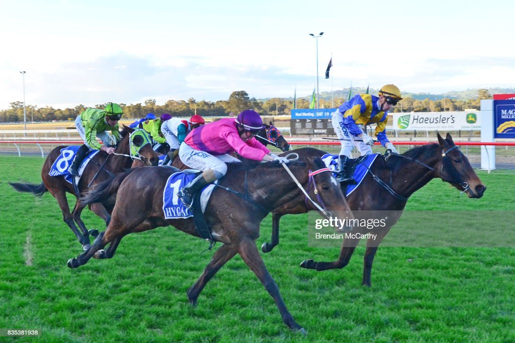 Max Master ridden by Lachlan King wins the Parker Bros. Earthmoving 0 - 58 Handicap at Seymour Racecourse on August 19, 2017 in Seymour, Australia.