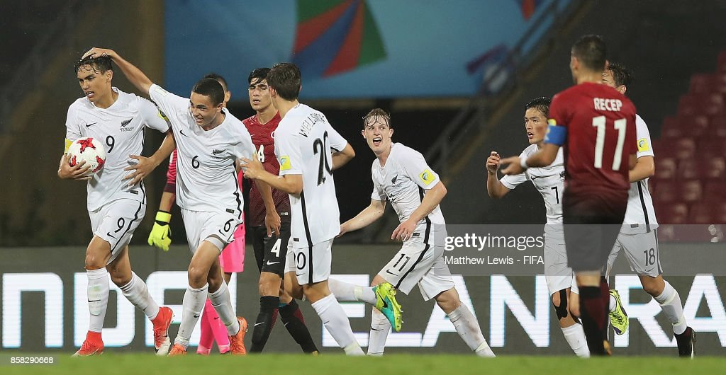 Max Mata of New Zealand is congratulated on his goal during the FIFA U-17 World Cup India 2017 group B match between New Zealand and Turkey at Dr DY Patil Cricket Stadium on October 6, 2017 in Mumbai, India.